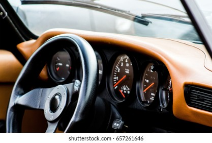 Car dashboard, steering wheel, sports car
