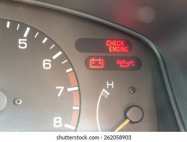 Car dashboard warning lights symbols
