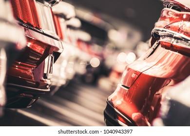 Car Dealer Vehicles Lot Closeup Photo. Modern Cars For Sale.
