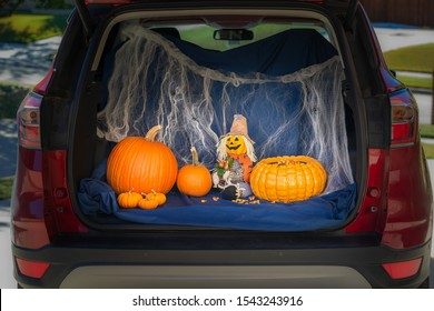 A car is decorated for Trunk or Treat event, an alternative for kids Trick or Treating in a safe environment on Halloween night.