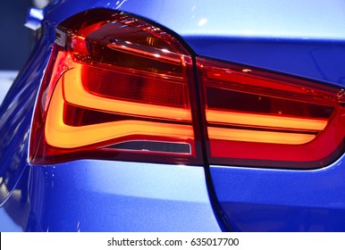 Car detail. New led taillight in sports car.