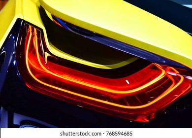 Car detail. New led taillight in hybrid sports car.