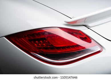 Car detailing series: Clean taillights of white sports car