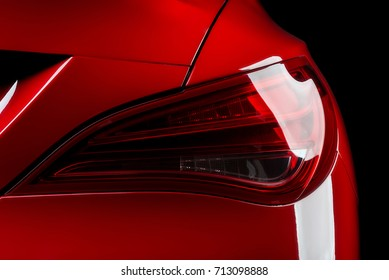 Car detailing series: Closeup of red car taillights