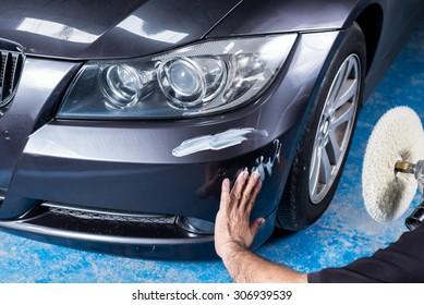 Car detailing series : A man waxing grey car