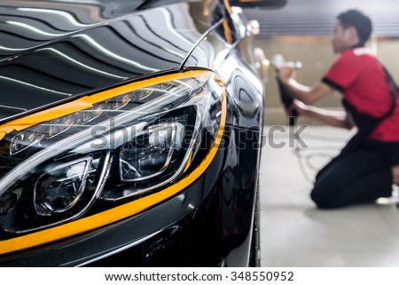 Car Detailing Series Polishing Black Car Stock Photo Edit Now - Car detailing show