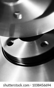 Car disk brakes system black and white