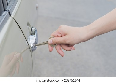 car door with key