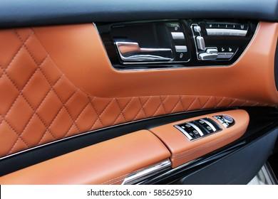 Car Doors. Car interior luxury service. Car interior details