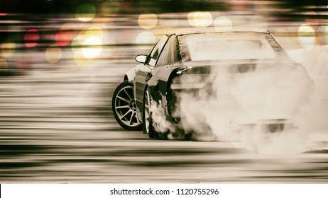 Car drifting, Blurred of image diffusion race drift car with lots of smoke from burning tires on speed track with bokeh