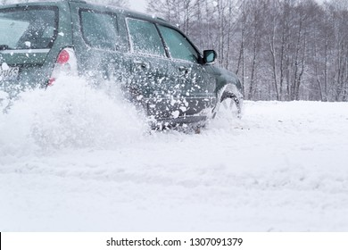 Car drifting on the snowy winter road