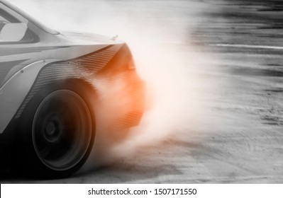 Car drifting on track with grain, Sport car wheel drifting and smoking on track.