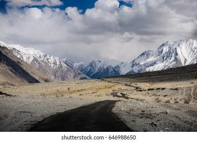 car drive pass mountain area in Leh ladakh