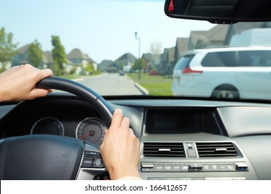 Car driver. Auto background.