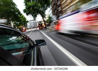 Car driving fast.