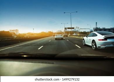Car driving high way road