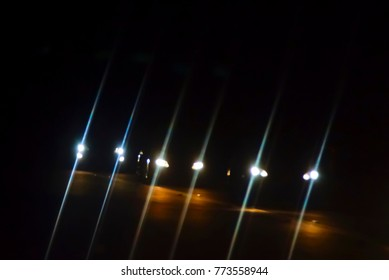 Car Driving At Night With Blur Effect