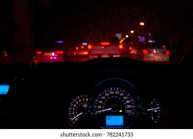 car driving at night with traffic jam,copy space.