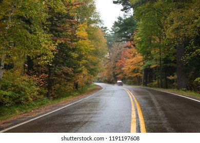 Car driving on a curving highway in northern Minnesota with trees in autumn color on a rainy day