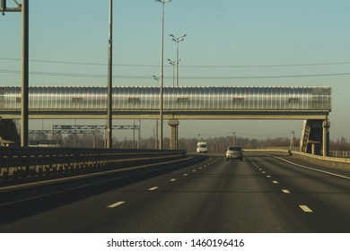Car driving on a highway. auto moving on a roadway background
