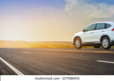 Car driving on road,car on highway road sky background