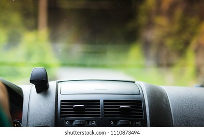 Car driving, view from inside on dashboard and window. Traveling using vehicles concept.