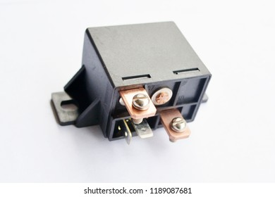 Car electromagnetic relay isolated on white background