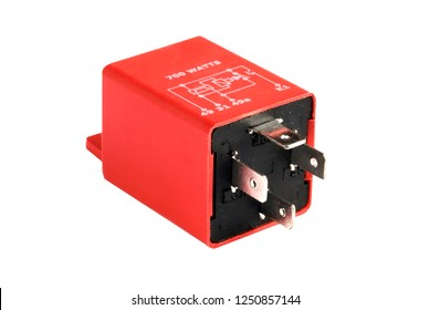 Car electromagnetic relay switch isolated on white background