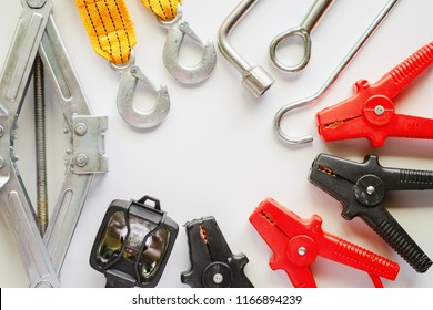 Car emergency kit on white background for vehicle and transportation concept