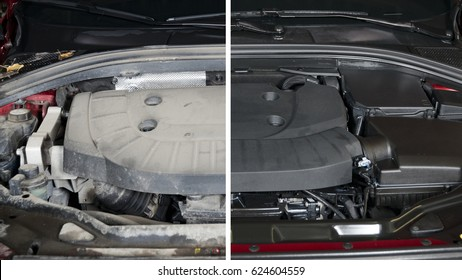 Car engine, before and after cleaning maintenance, half divided picture, before and after effect.