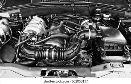 Car engine close-up.