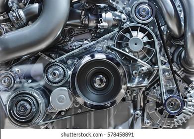 Automotoren, Konzept eines modernen Automotors mit Metall, Chrom, Kunststoffteilen, Schwerindustrie