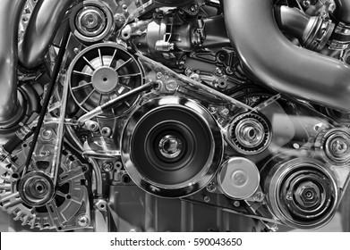 Automotoren, Konzept eines modernen Automotors mit Metall, Chrom, Kunststoffteile, Schwerindustrie, Monochrom