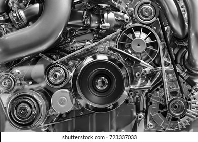 Car engine, concept of modern vehicle motor with metal and chrome details, automobile industry, monochrome