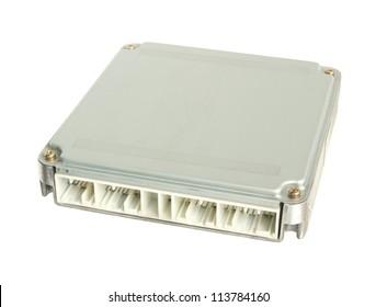 Car engine control unit (ECU) isolated on white background