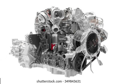 Car engine cross cut of concept car isolated on white background with clipping path