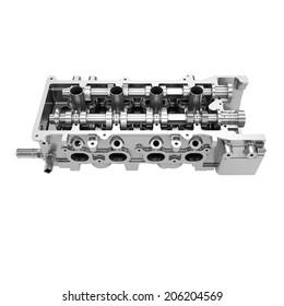 Car engine cylinder head isolated on white background