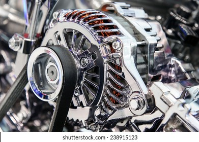 Car engine. Fragment of modern automobile motor