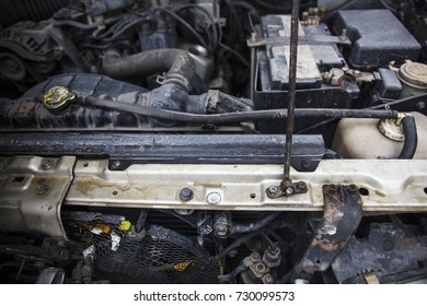 Car engine of car with hood raised