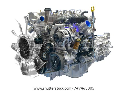 Car engine isolated on