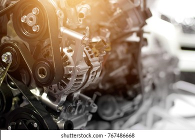 Car engine part, concept of modern vehicle motor and cut metal car engine part details