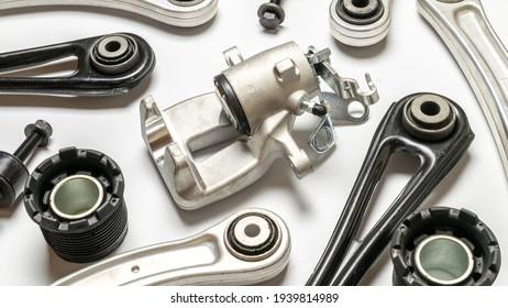 Car engine parts. Auto motor mechanic spare or automotive piece on white background. Set of new metal car part. Automobile engine service