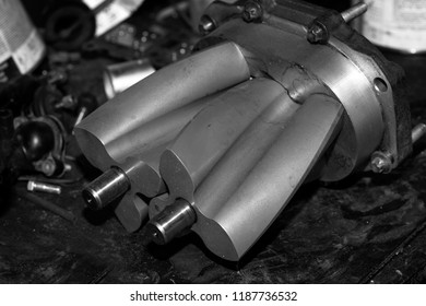 Car engine,supercharger concept of modern vehicle motor with metal and chrome details, automobile industry, monochrome