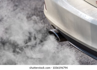 Car exhaust pipe coming out of the diesel exhaust. Exhaust gases are harmful to health - therefore a skull is incorporated into the exhaust gas cloud. Concept: transport or health protection