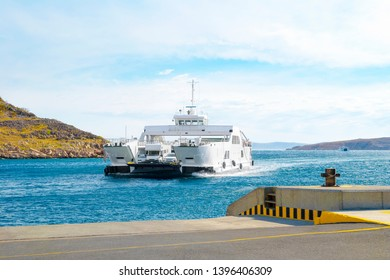 Car ferry boat in Croatia linking the island Rab to mainland.