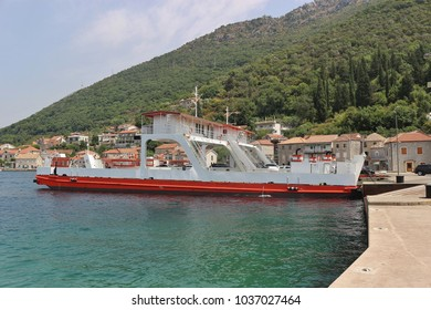 Car ferry in the Kotor Bay, Montenegro, between Kamenary and Lepetane. Instead pf driving around the bay, it saves about 30 km. Southeast Europe.