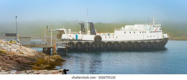 Car ferry in Norway, Scandinavia, Europe. Water transportation.