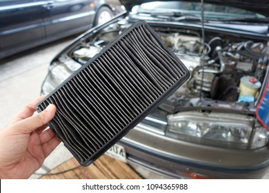 car filter with car background.