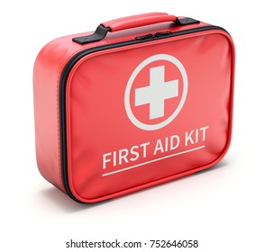 Car first aid kit in red fiber case - 3D illustration