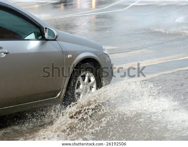 car in floods